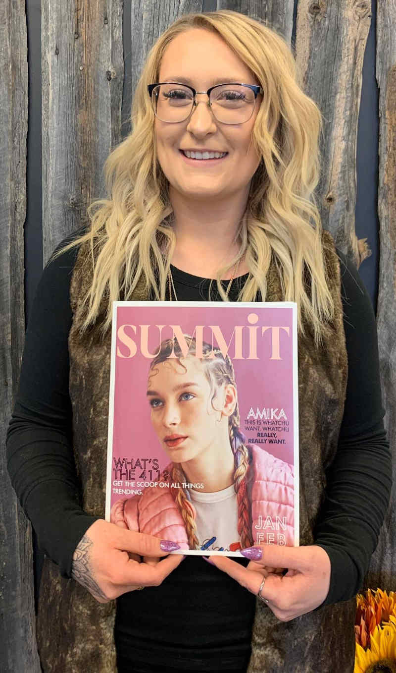 Kat with Cover of Summit Salon Magazine - Jan - Feb 2020